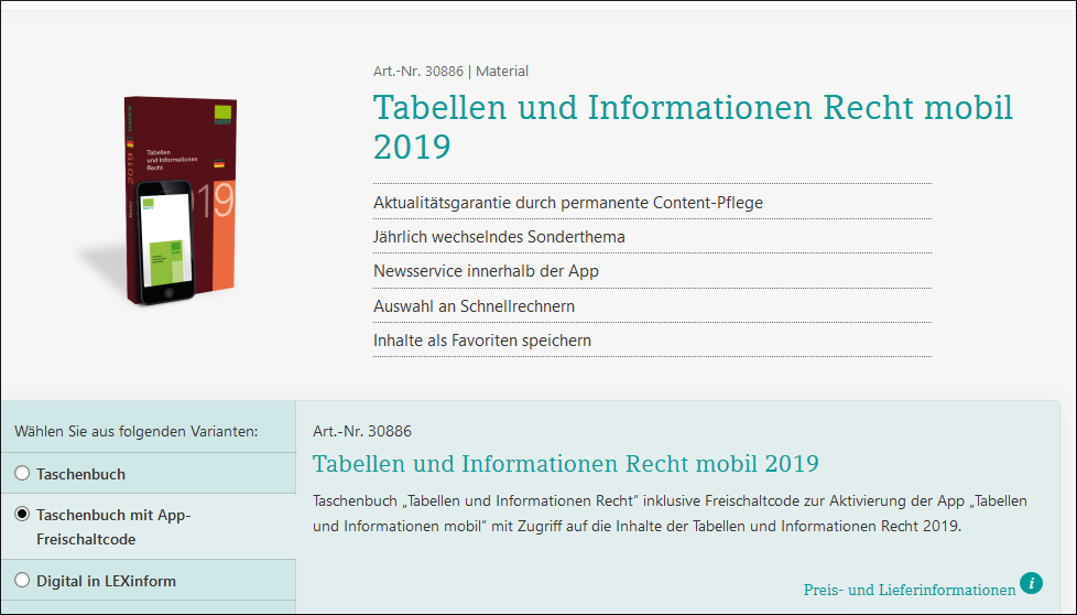 tabellen & informationen datev